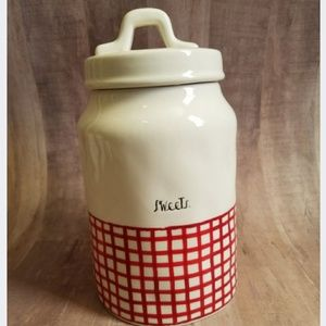 New Rae Dunn Red Picnic Sweets Canister